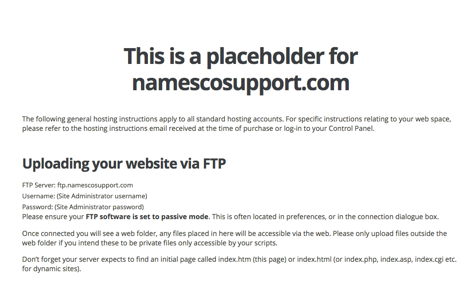 Why does my domain still display the Namesco holding page once I've