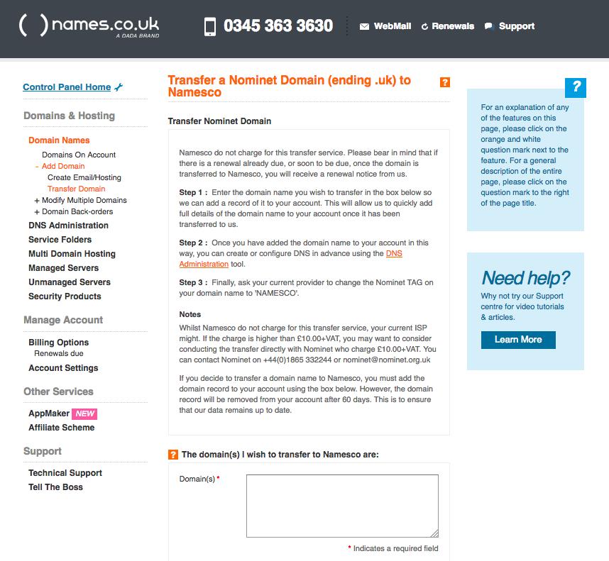 Co Domain Name: Transferring A Domain Name In To Namesco