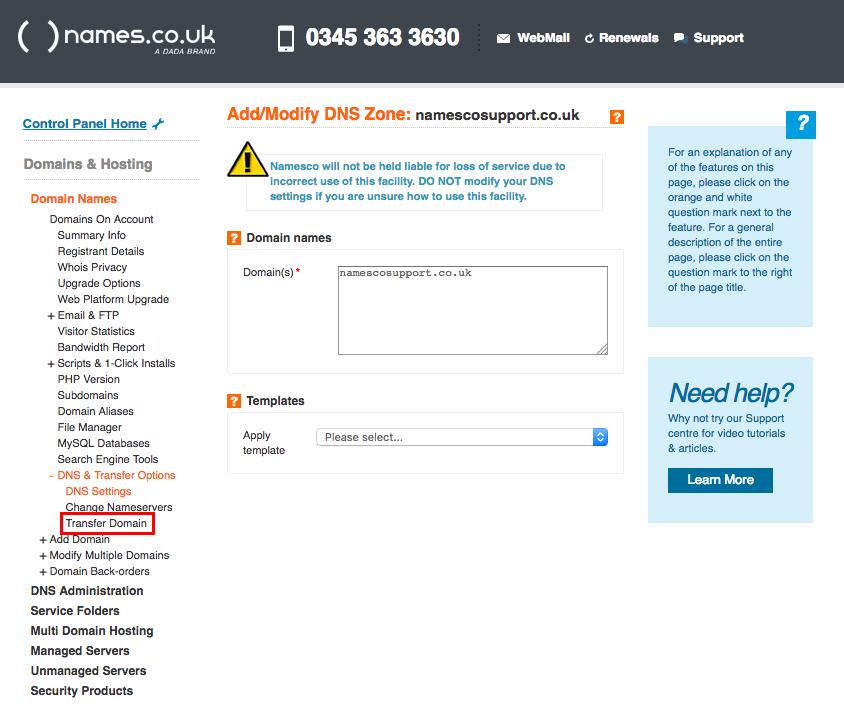Transferring a Domain Name away from Namesco