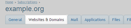 Website and domain tab