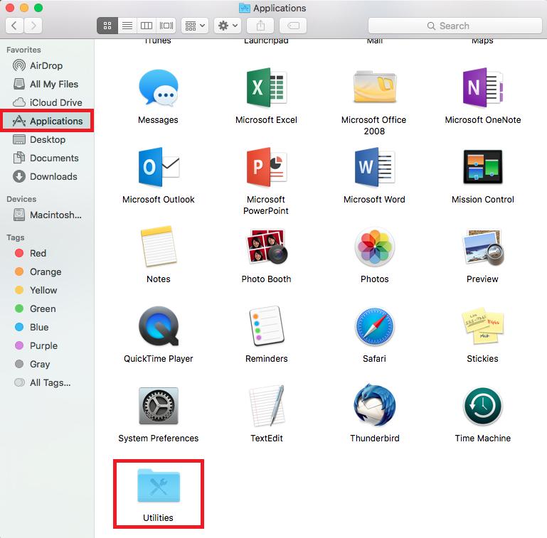 open utilities folder