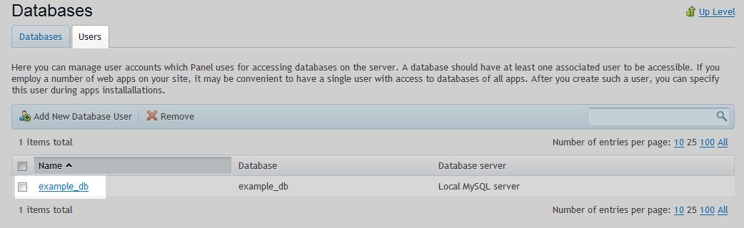Database User Select