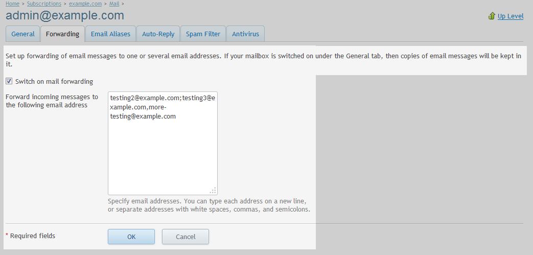 Email forwarding details