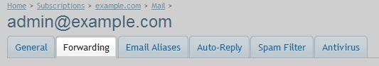Email forwarding tab