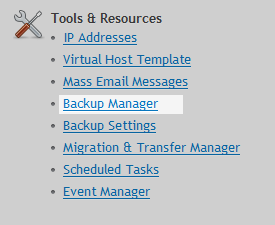 Backup Manager menu
