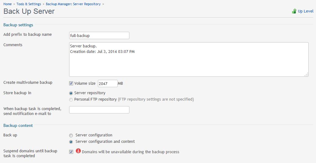 backup server example