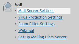 mail server settings menu
