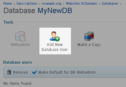 Select - Add New Database User
