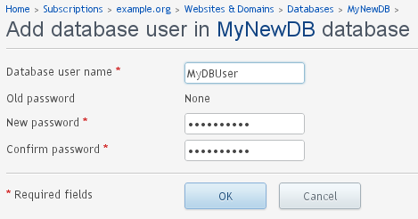 Adding - New Database User