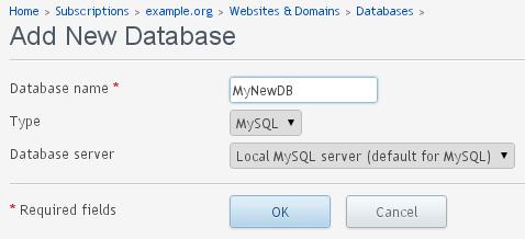Adding - New Database