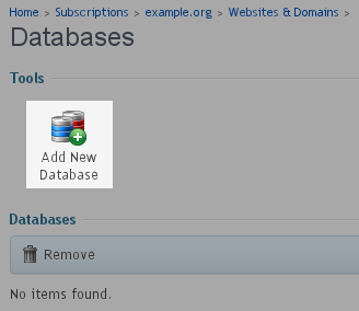 Select - Add New Database