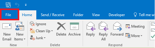 outlook 2016 click file