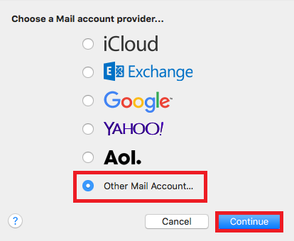mac mail other mail account
