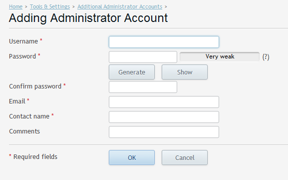Administrator add option