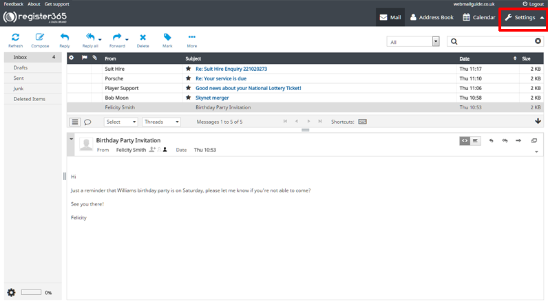 Whitelisting Email addresses in WebMail