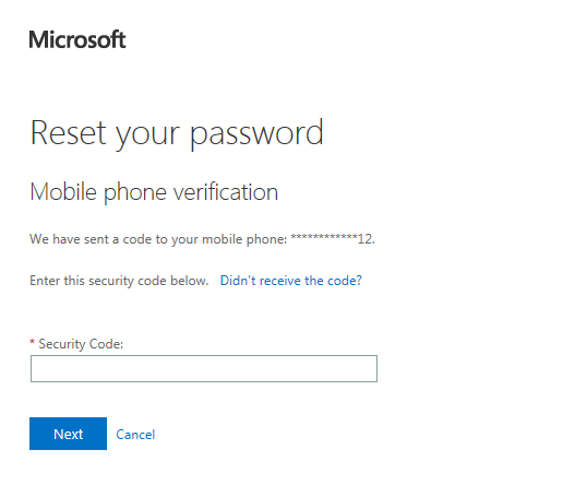 microsoft office 365 login reset password