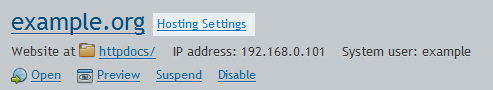 Hosting settings