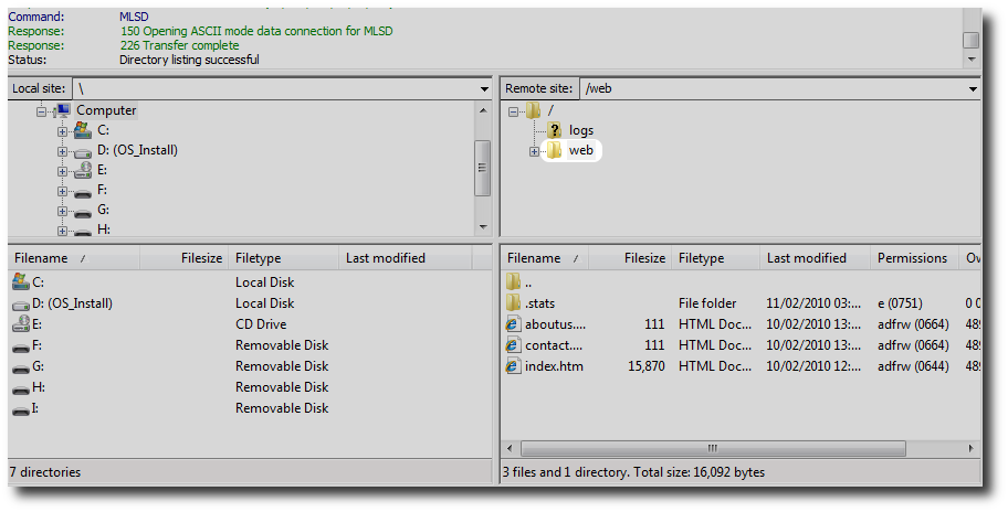 FileZilla Web Folder
