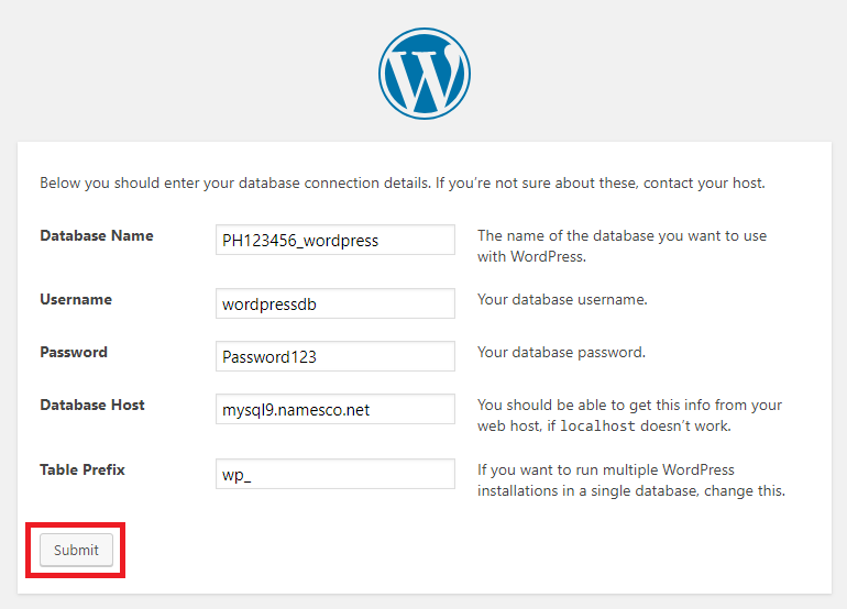 wordpress enter database credentials