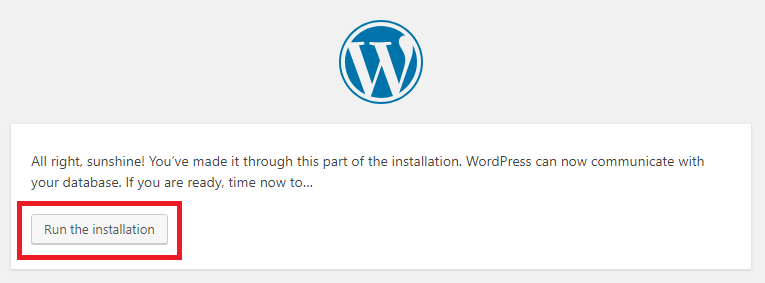 Run the Wordpress installer