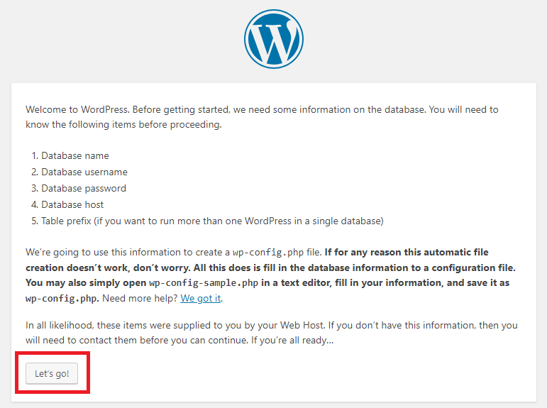 wordpress let's go