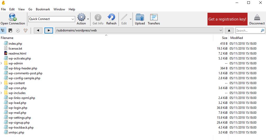Wordpress files in /web folder