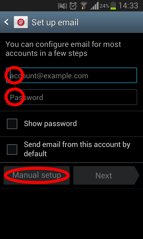 setup email on android