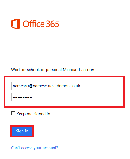 enter your email address and password and then click sign in