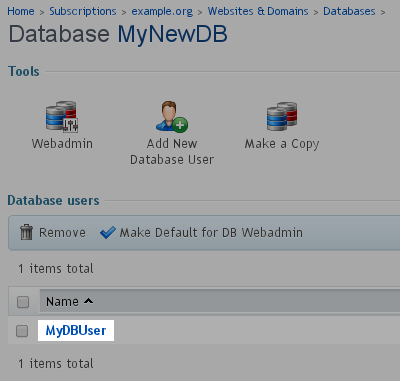 Select - Database User