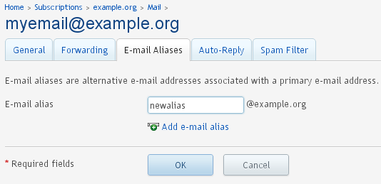 Adding - Email Alias