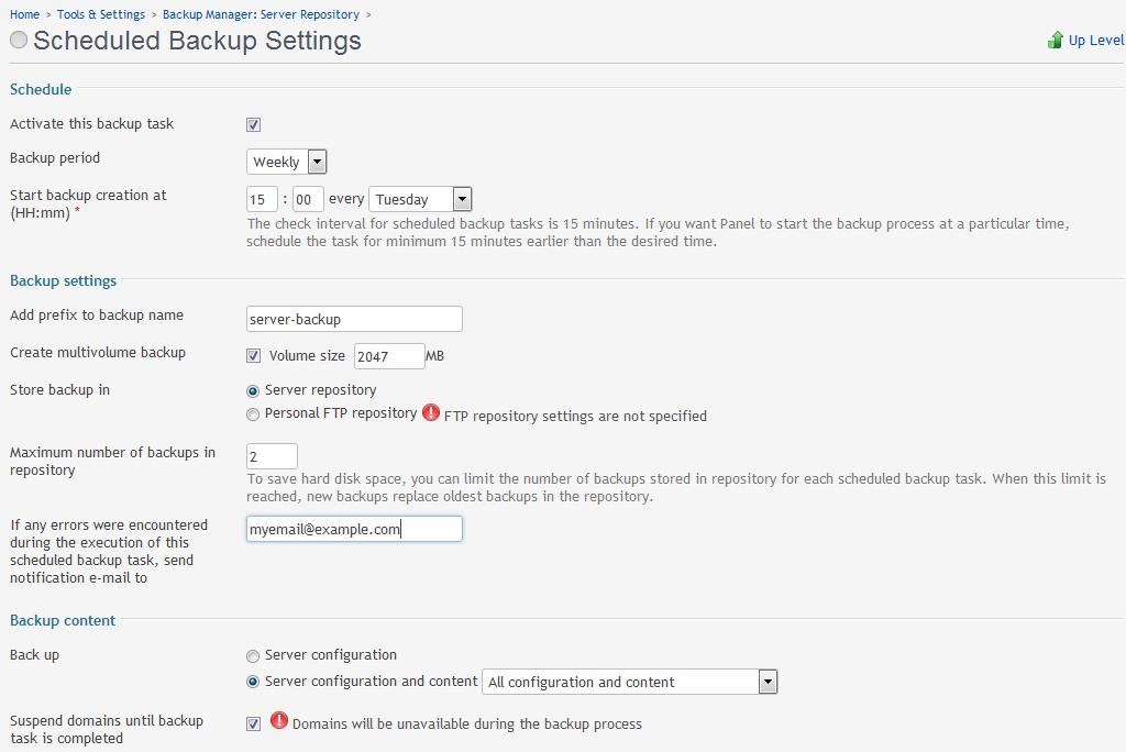 backup server example schedule