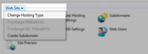 select change host type option