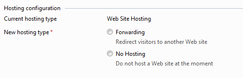 select the new hosting type