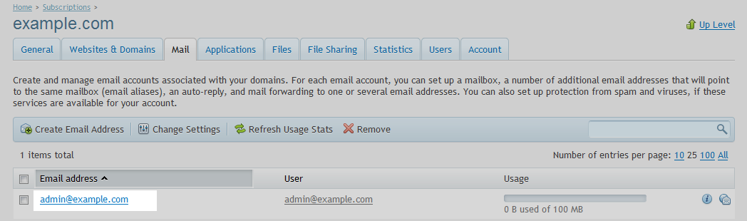 Email account select