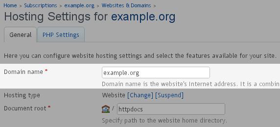 Change - Domain Name