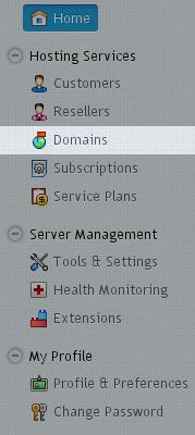 Menu - Domains
