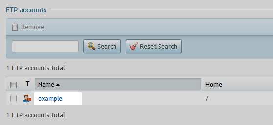 ftp user select