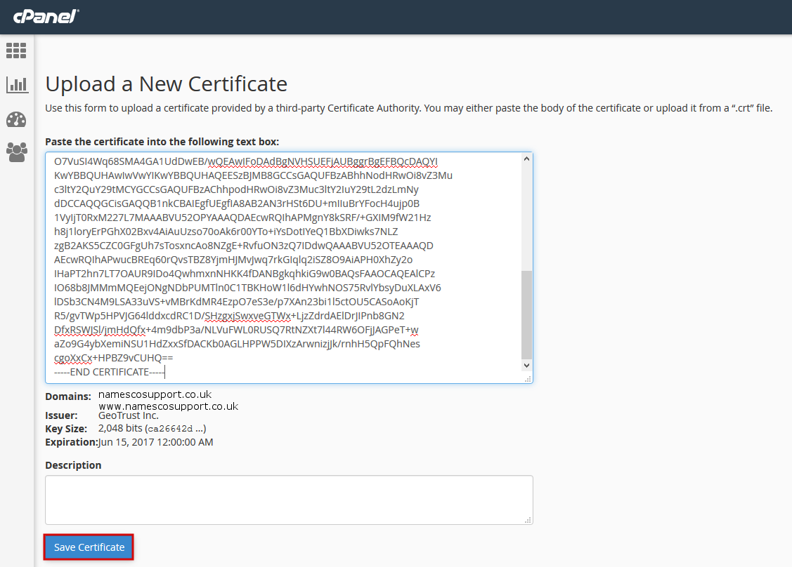 Install the certificate in cpanel xflitez Images
