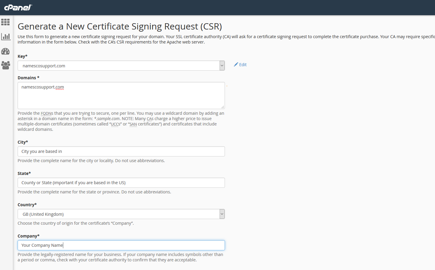 Generate A Csr For Your Ssl Certificate In Cpanel