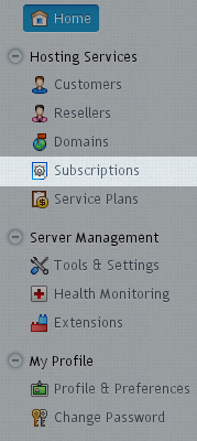 Menu - Subscriptions