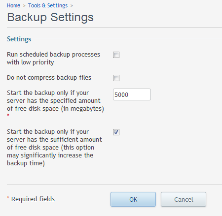 backup settings