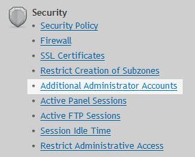 Security Additional Admin